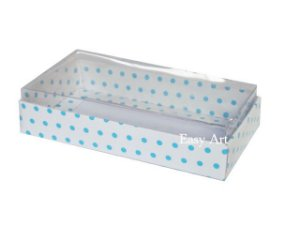Caixinha para 1 Sabonete / Bijuterias - Branco com Poás Azuis