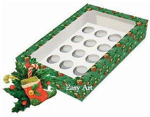 Caixa para 12 Brigadeiros com Visor, Berço  e Tag - Botas de Natal