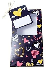 Caixa para Barras de Chocolate de 300g com Tag - Corações