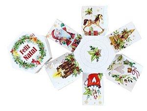 Caixa Explosão para Mini Panetone - Feliz Natal Guirlanda