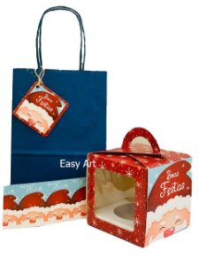 Kit para Mini Panetone - Papai Noel de Gorro