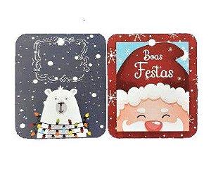 Tags Decorativos - Urso Polar e Papai Noel / Pct 30 unidades