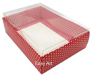 Caixa para Urso de Chocolate / Multiuso - Vermelho com Poás Brancas