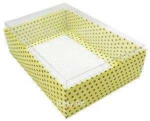 Caixa para Urso de Chocolate / Multiuso - Amarelo com Poás Marrom