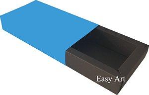 Caixa para 8 Brigadeiros Linha Color - Marrom Chocolate / Azul Turquesa
