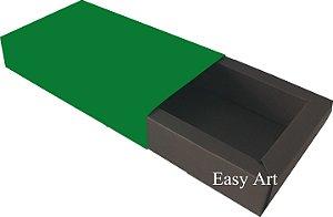 Caixa para 8 Brigadeiros Linha Color - Marrom Chocolate / Verde Bandeira