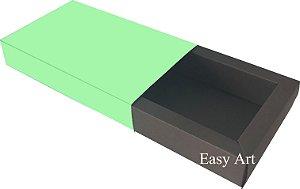 Caixa para 8 Brigadeiros Linha Color - Marrom Chocolate / Verde Claro