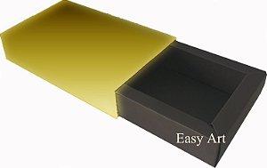 Caixa para 8 Brigadeiros Linha Color - Marrom Chocolate / Dourado Brilhante
