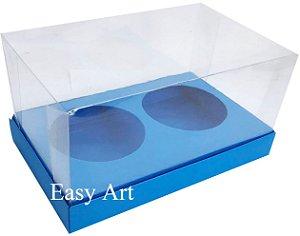 Caixas para 02 Mini Panetones - Azul Turquesa