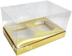 Caixas para 02 Mini Panetones - Dourado Brilhante