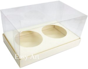 Caixas para 02 Mini Panetones - Marfim
