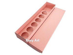 Caixa para 06 Brigadeiros + Botão de Rosa - Pct com 10 unidades
