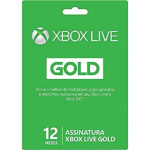 Microsoft Live Card Microsoft Gold 12 Meses para Xbox 360 e Xbox One