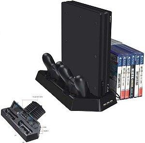 Suporte de Carregamento e Resfriamento Dock Station PS4 Slim Pro Com Porta 14 Jogos