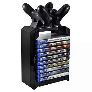 Suporte de Carregamento e Dock Station PS4 Fat Slim Pro Xbox One S Com Porta 14 Jogos