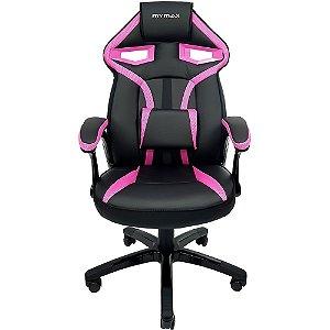 Cadeira Gamer MX1 Giratoria Preto Rosa Mymax