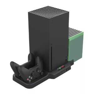 Suporte Xbox Series X / S Com Resfriador Carregador Para Controles Porta Jogos