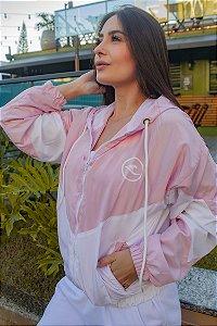 Jaqueta Corta Vento Hawewe Logo Onda Recortes Rosa
