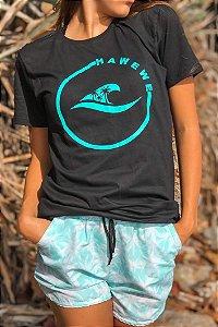 Camiseta Hawewe Surf Logo Coqueiros Preta