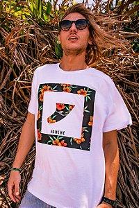 Camiseta Hawewe Surf Quilha Floral Branca
