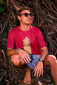 Camiseta Hawewe Pineapple Tiki Vermelha Mescla