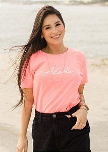 Camiseta Hawewe Aloha Estonada Rosa