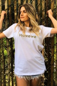 Camiseta Hawewe Animal Print Branca