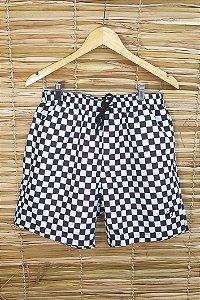 Shorts Masculino Hawewe Quadriculado Preto e Branco
