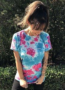 Camiseta Hawewe Single Wave Tie Dye Rosa com Azul