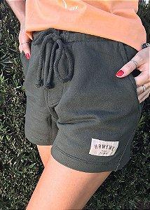 Shorts Hawewe Moletinho Verde Militar