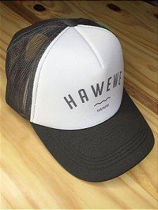 Boné Hawewe Surfwear Trucker Branco com Cinza