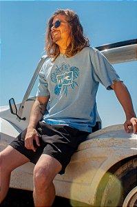 Camiseta Hawewe Haw Folhagens Azul Estonada