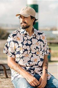Camisa Hawewe Floral Unissex Kauai Marinho