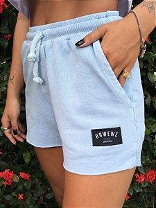 Shorts Hawewe Moletinho Azul Estonado