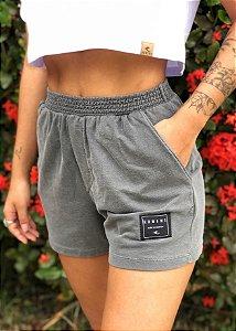 Shorts Hawewe Moletinho Cinza Estonado