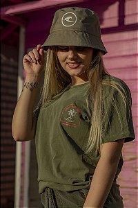 Camiseta Hawewe Feminina Turn Off Club Verde Estonada