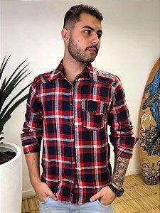 Camisa Hawewe Xadrez em Flanela Unissex Vermelha um Bolso