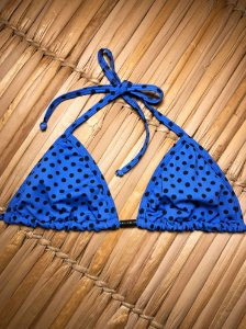 Biquíni Cortininha Hawewe Poá Azul