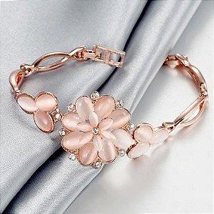Pulseira Flor Ouro Rose 18k