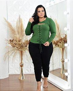 Blusa malha canelada plus size