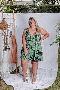 Vestido em estampa em folhagem plus size