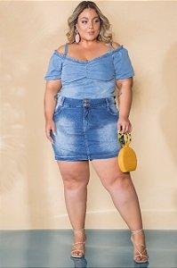 Blusa jeans plus size