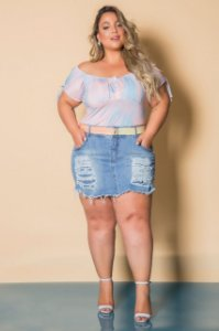 Short saia jeans plus size