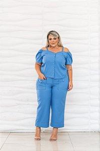 Conjunto de calça pantacurt e blusa plus size