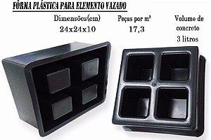 KIT C/ 20 UNIDADES (R$ 18,94 CADA), FORMA PLÁSTICA ELEMENTO VAZADO 4 FUROS 24x24x10