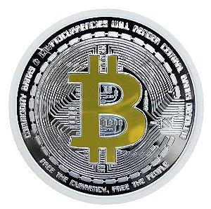 Moeda decorativa Bitcoin - Prata com Dourado