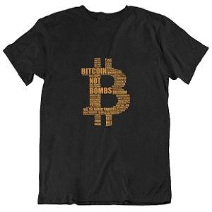 Camiseta Bitcoin Not Bombs - Preta