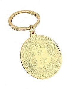 Chaveiro Moeda Bitcoin - Dourado