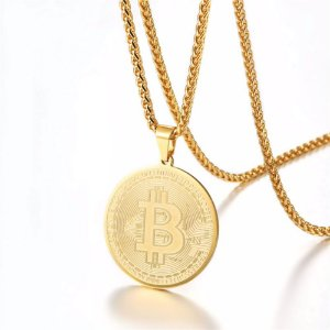 Colar masculino Moeda Bitcoin - Dourado
