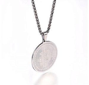 Colar masculino Moeda Bitcoin - Prata